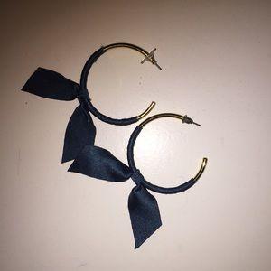 JCrew Ribbon Bow Teal Gold Hoop Earrings